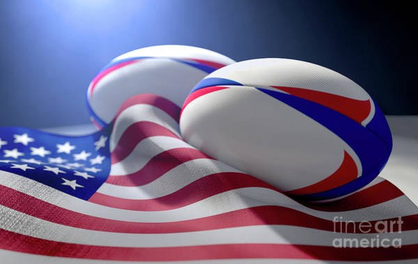 Wall Art - Digital Art - American Flag And Rugby Ball Pair by Allan Swart