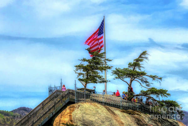 Granite State Digital Art - American Flag At Chimney Rock by Amy Dundon