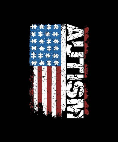 Skeptic Wall Art - Digital Art - American Flag Autism Atheist by Ashton Kellett