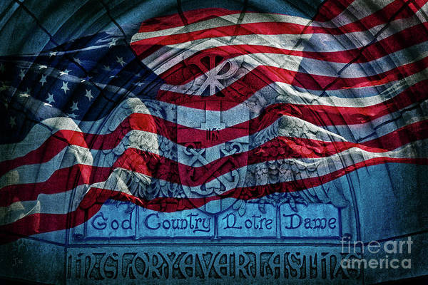Wall Art - Photograph - American Flag God Country Notre Dame Vivid by John Stephens
