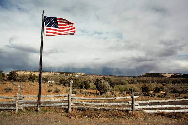 Usa Flag Photograph - American Flag Landscape by Michelle Mccarron