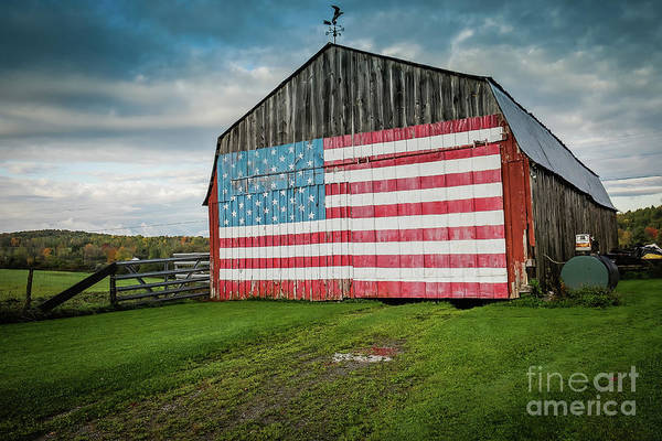 Wall Art - Photograph - American Flag On A Barn by D. Eugene Lee
