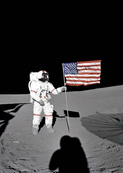 Wall Art - Digital Art - American Flag On The Moon by Filip Hellman