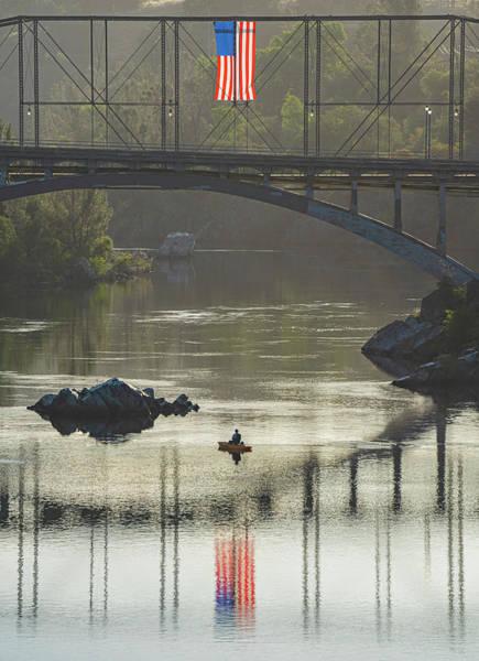 Photograph - American Flag Over American River by Jonathan Hansen