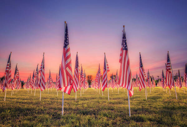 Usa Flag Photograph - American Flags At Sunset by Malcolm Macgregor