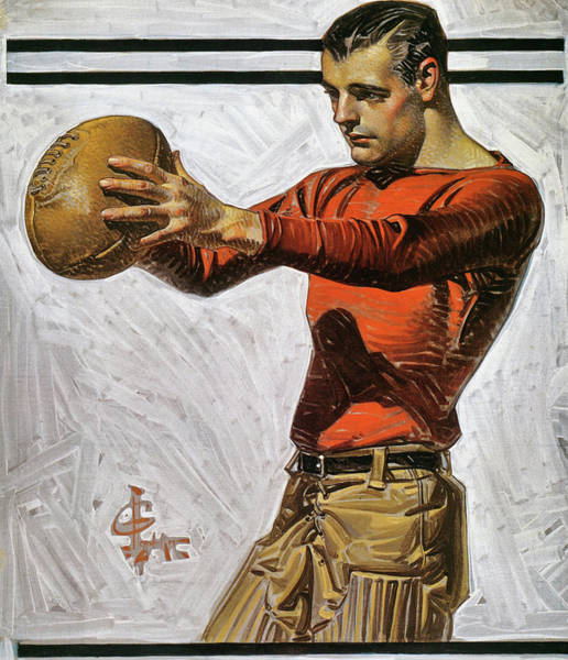 Wall Art - Painting - American Football, Dropkicker - Digital Remastered Edition by Joseph Christian Leyendecker