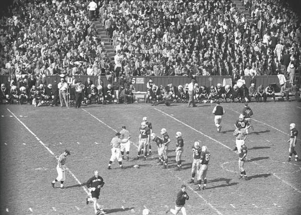 Photograph - American Football Match, B&w, Elevated by George Marks