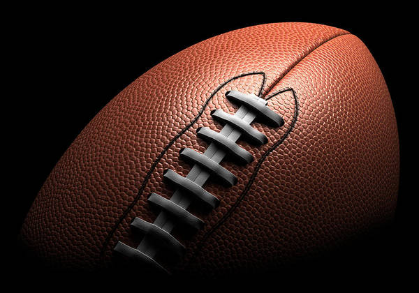 American Football Photograph - American Football On Black Background by Ian Mckinnell