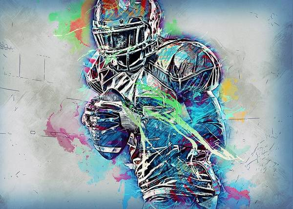 Soccer Stadium Wall Art - Painting - American Football Player by ArtMarketJapan