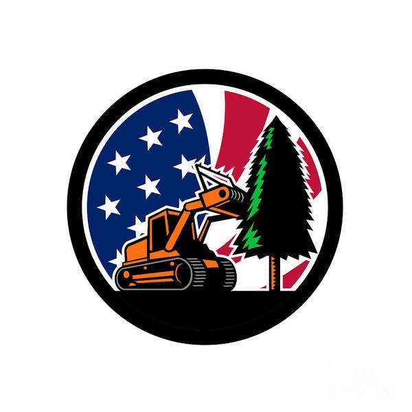 Wall Art - Digital Art - American Forestry Mulcher Usa Flag Retro by Aloysius Patrimonio