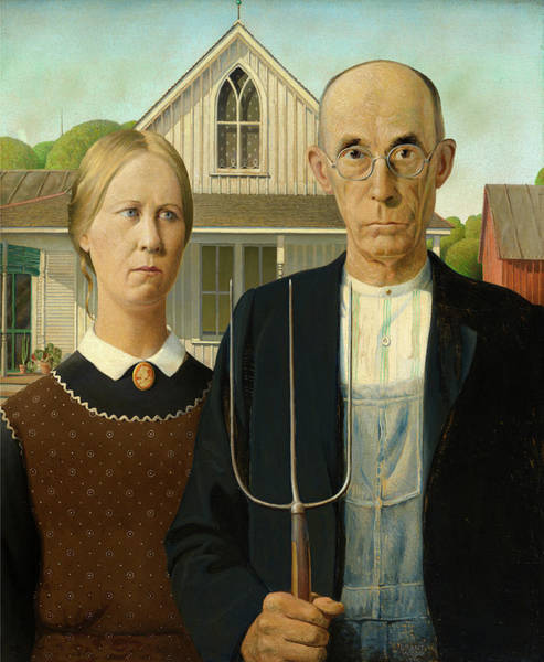 Wall Art - Painting - American Gothic, 1930 by Grant Wood