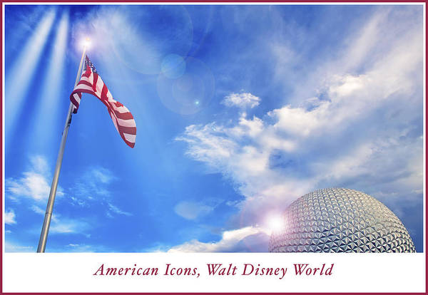 Photograph - American Icons, Old Glory, Epcot Spaceship Earth by A Gurmankin
