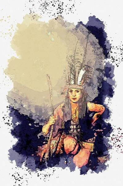 Wall Art - Painting - american indian girl -  watercolor by Ahmet Asar by Ahmet Asar