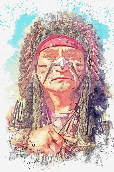Wall Art - Painting - american indian -  watercolor by Ahmet Asar by Ahmet Asar