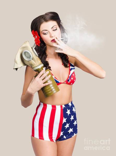 Photograph - American Military Pin Up Girl Holding Gasmask  by Jorgo Photography - Wall Art Gallery