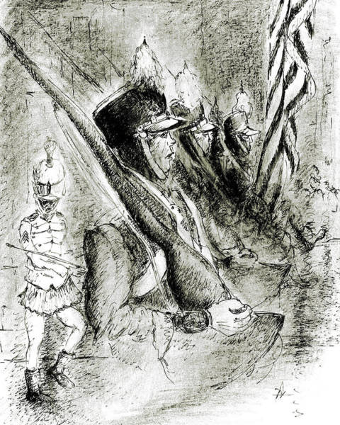 Drawing - American Parade 79 - Ink Pencil Drawing by Peter Potter
