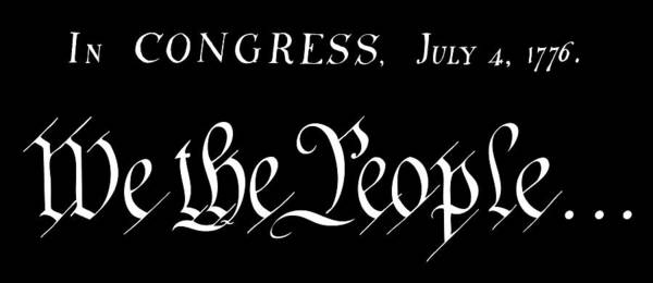 Wall Art - Digital Art - American Patriot - We The People - In Congress 1776 T-shirt White Text by Daniel Hagerman