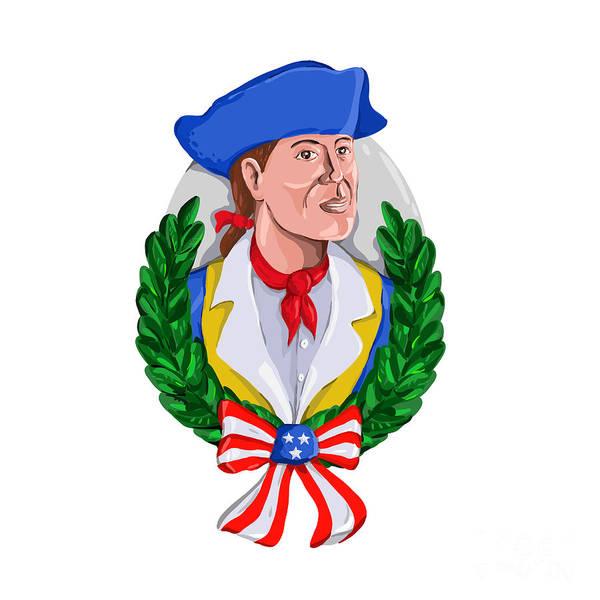 Wall Art - Digital Art - American Patriot Wreath Watercolor Retro by Aloysius Patrimonio
