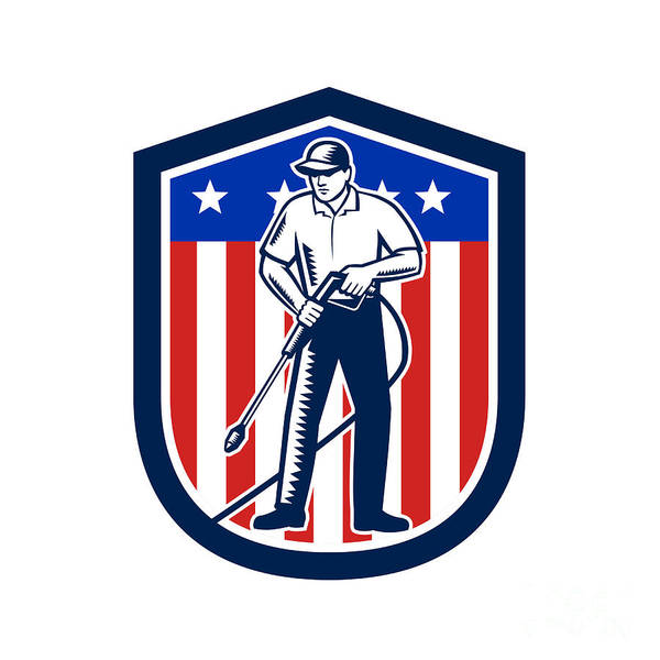 Wall Art - Digital Art - American Pressure Washing Usa Flag Shield Retro by Aloysius Patrimonio