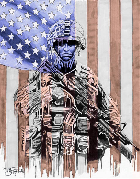 Drawing - American Soldier by Bill Richards
