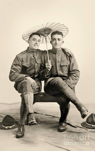 Photograph - American Soldiers With A Parasol Circa 1915 by American School