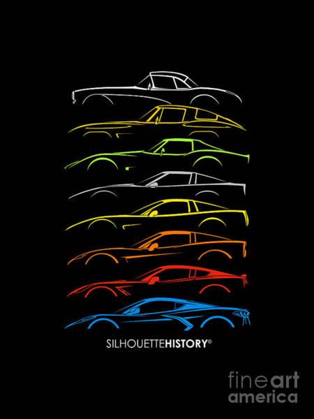 C6 Wall Art - Digital Art - American Sports Car 8g Silhouettehistory by Gabor Vida