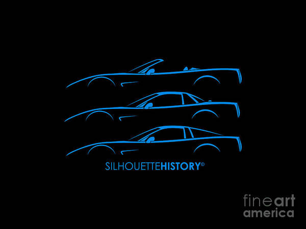 Wall Art - Digital Art - American Sports Car C5 Silhouettehistory by Gabor Vida