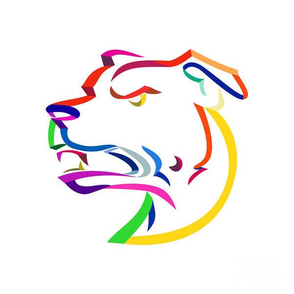 Wall Art - Digital Art - American Staffordshire Terrier Ribbon Art by Aloysius Patrimonio