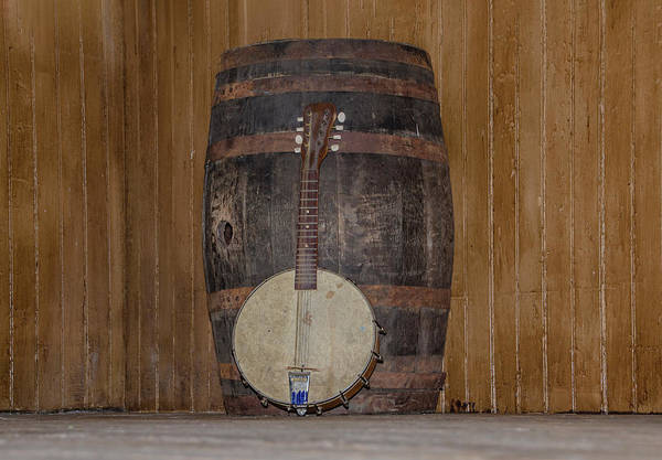 Wall Art - Photograph - Americana - Banjo Mandolin And Water Barrel by Bill Cannon