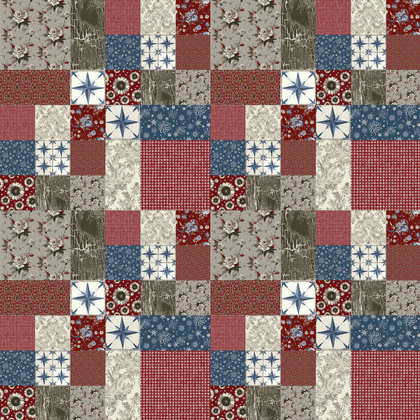Wall Art - Painting - Americana Patchwork Quilt Red White Blue by Audrey Jeanne Roberts