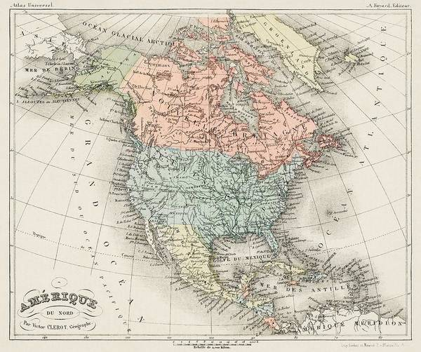 Wall Art - Painting - Amerique Du Nord From Atlas Universel By Artheme Fayard, Pseudonyme F. De La Brugere  1836-1895  Pu by Celestial Images