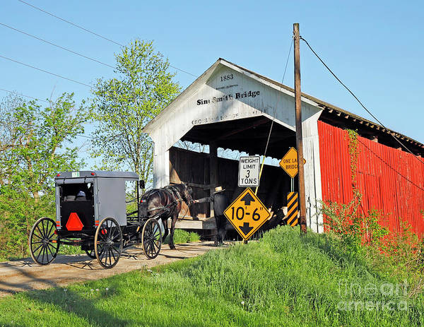 Wall Art - Photograph - Amish Buggy Into The Bridge by Steve Gass