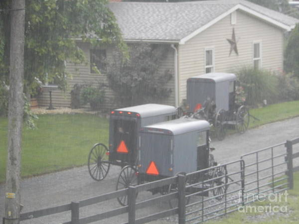Photograph - Amish Buggy Traffic At Church by Christine Clark