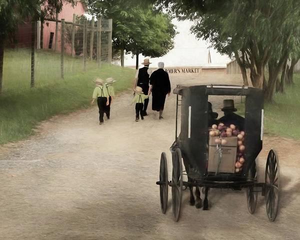 Wall Art - Mixed Media - Amish Farmers Market by Lori Deiter