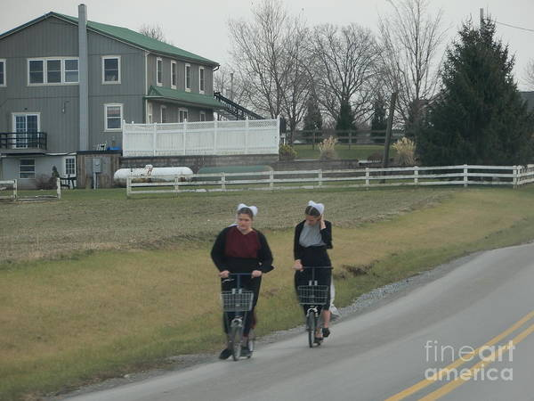 Photograph - Amish Friends Go For A Scooter Ride by Christine Clark