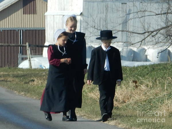 Photograph - Amish Siblings Go For An After Church Walk by Christine Clark
