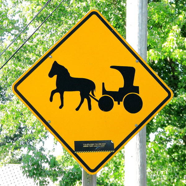 Photograph - Amish Taxi Crossing Sign Chautauqua New York by Rose Santuci-Sofranko