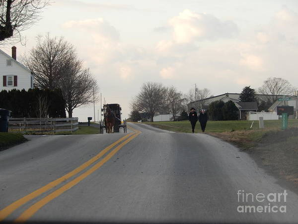 Photograph - Amish Visiting Time by Christine Clark