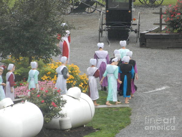 Photograph - Amish Women Head Into Church by Christine Clark