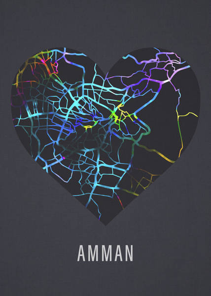 Wall Art - Mixed Media - Amman Jordan City Street Map Heart Love Dark Mode by Design Turnpike