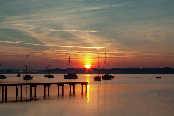 Wall Art - Mixed Media - Ammersee Sunrise by Smart Aviation