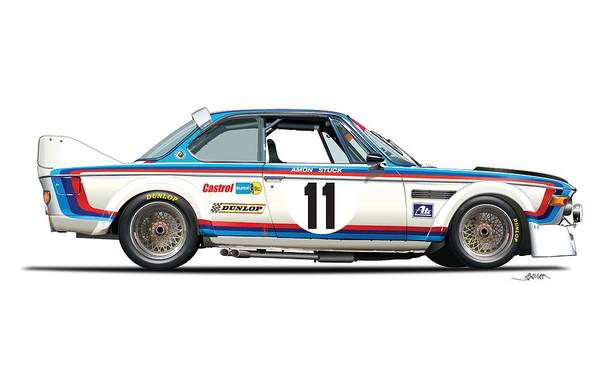 Wall Art - Drawing - Bmw 3.0 Csl No Background by Alain Jamar