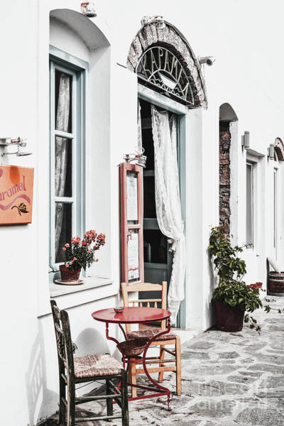 Outdoor Cafe Photograph - Amorgos by PrintsProject