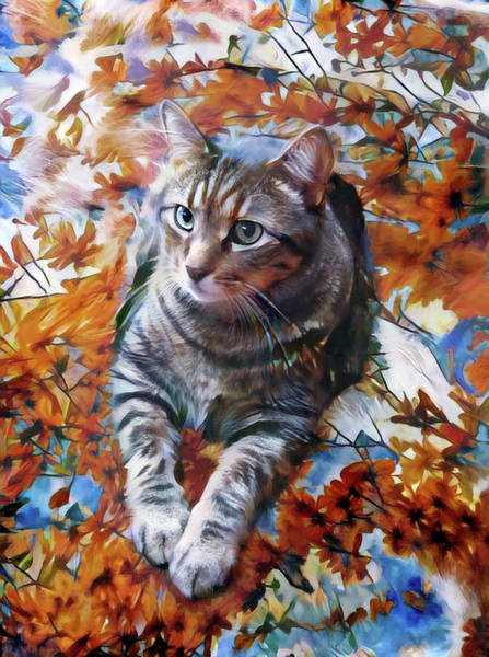 Digital Art - Amos In Flowers by Peggy Collins