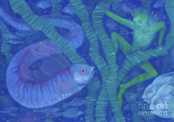 Pastel - Amphibian And The Fish King, Fantasy Art, Underwater by Julia Khoroshikh