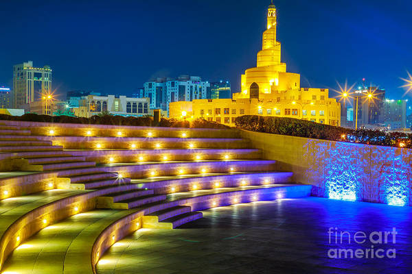 Photograph - Amphitheater Doha Night by Benny Marty