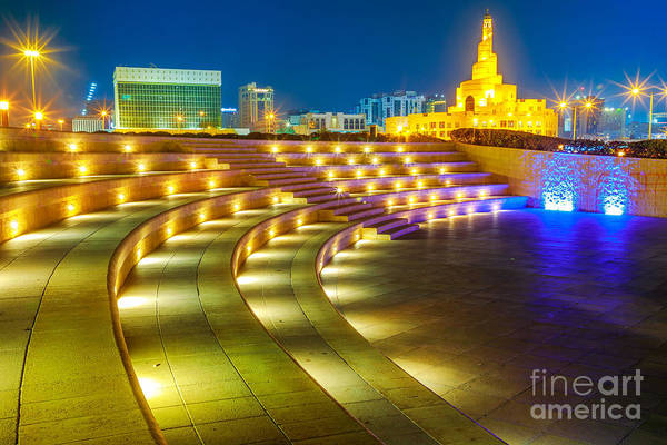 Photograph - Amphitheater In Doha Night by Benny Marty