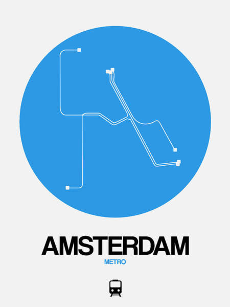Wall Art - Digital Art - Amsterdam Blue Subway Map by Naxart Studio