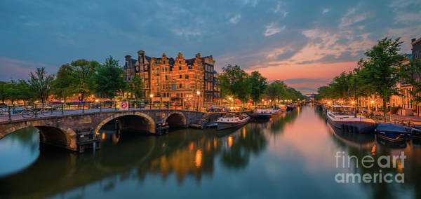 Prinsengracht Photograph - Amsterdam By Night by Henk Meijer Photography