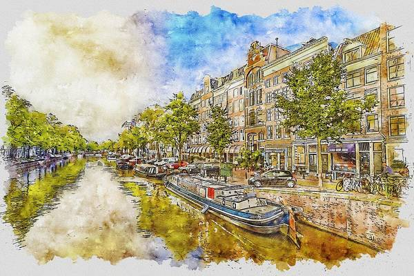 Amsterdam Painting - Amsterdam Canal by ArtMarketJapan